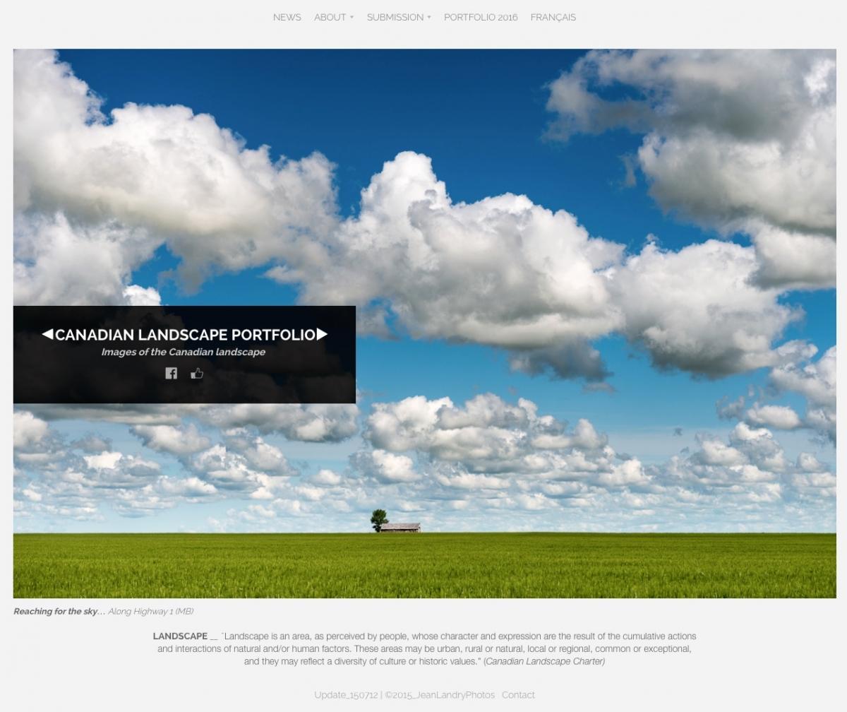 Portfolio Website Front Welcome page showing a Saskatchewan Landscape by Jean Landry